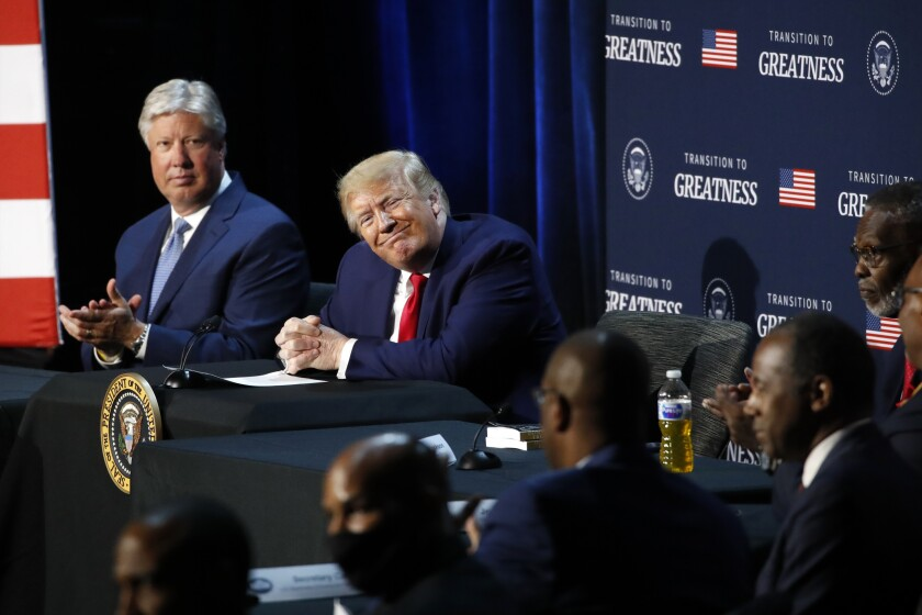 President Trump smiles during a roundtable discussion Thursday at Gateway Church in Dallas.
