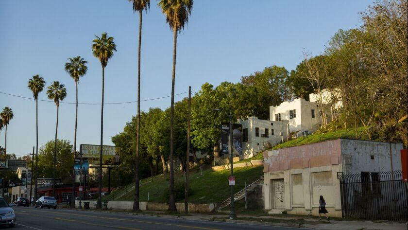 A bungalow complex on Sunset Blvd. in Los Angeles on March 27, 2014.