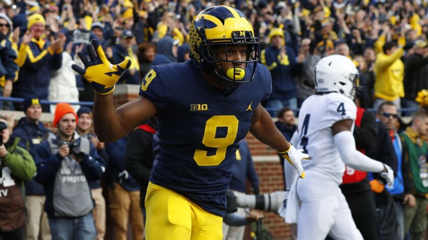 Michigan wide receiver Donovan Peoples-Jones celebrates his 23-yard touchdown reception against Penn State in the first half on Saturday.