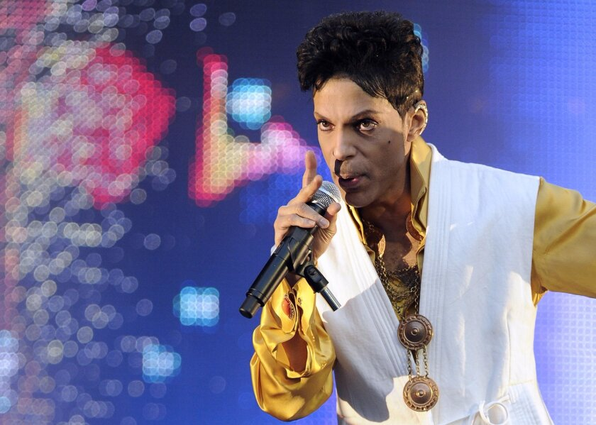 Prince performs at the Stade de France in Saint-Denis, outside Paris, in June 2011.