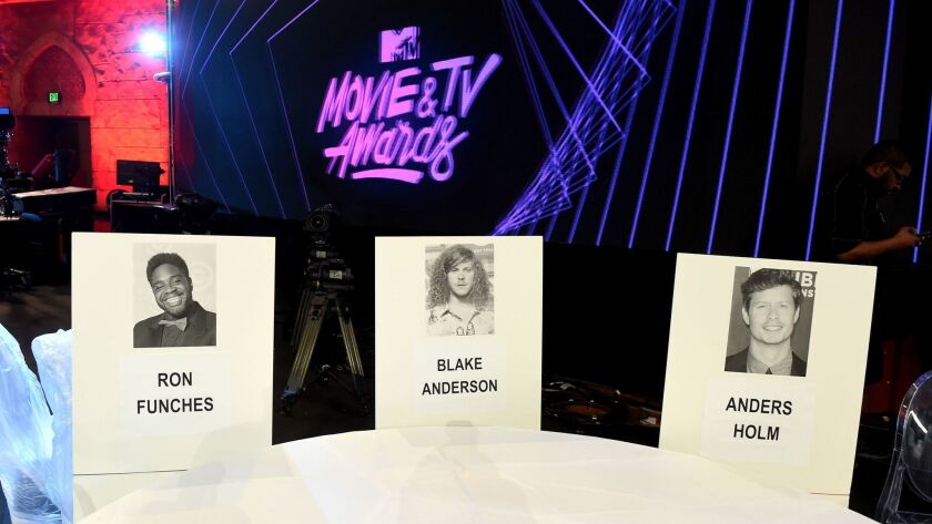 LOS ANGELES, CA - MAY 04: Seat cards are shown at the 2017 MTV Movie and TV Awards Press Junket at