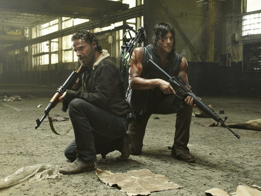 """Andrew Lincoln and Norman Reedus star as Rick Grimes and Daryl Dixon in """"The Walking Dead.""""(Frank W. Ockenfels 3/AMC/MCT)"""