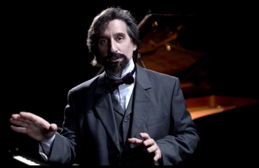 "Hershey Felder stars as composer Claude Debussy in ""A Paris Love Story"" for San Diego Repertory Theatre."