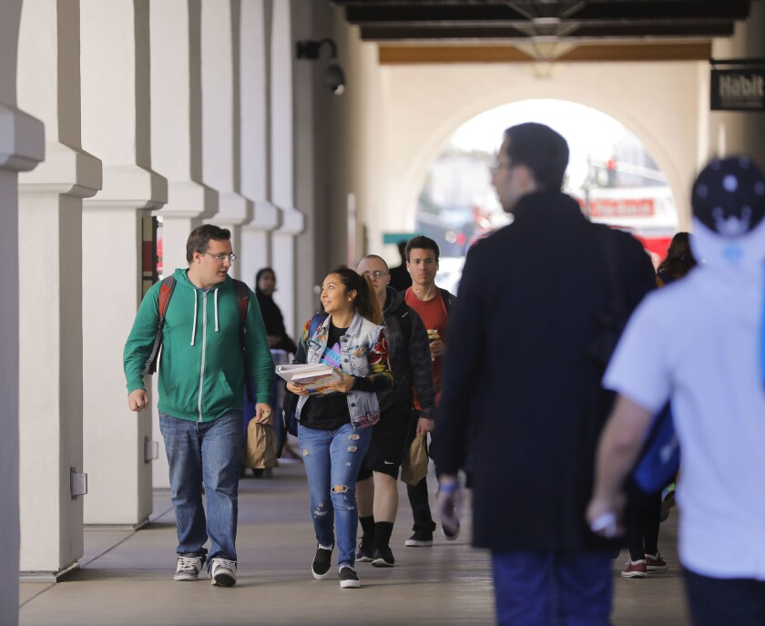 """Conrad Prebys Aztec Student Union on the campus of San Diego State University is a busy place at lunchtime. A national free speech group gave the school a """"yellow light"""" rating to warn about limits on free expression."""