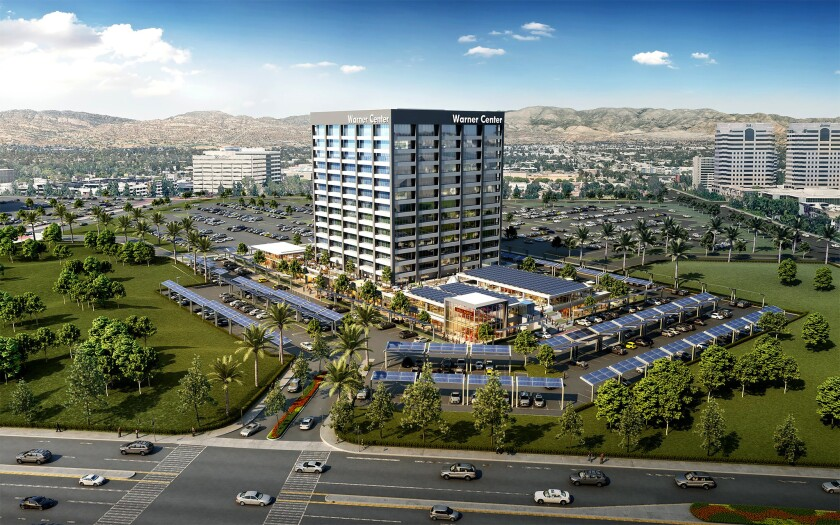 Artist's rendering of how the Center Point office building at 21555 Oxnard St. in Warner Center might look after a makeover. Insurer Anthem Inc. will move out of the tower next year.