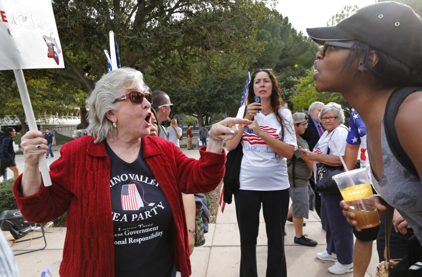 Carol Schlaepfer, left, from Chino Valley, argues with an unidentified U.C. Irvine student on campus during a protest Tuesday afternoon.