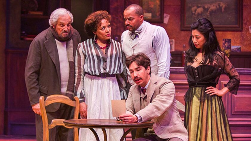 Hal Linden appears as Gaston, Luna Velaz as Germaine, Donald Faison as Freddy, Justin Long as Albert Einstein, and Liza Lapira as Suzanne in 'Picasso at the Lapin Agile,' by Steve Martin, directed by Barry Edelstein, running through March 12 at The Old Globe.
