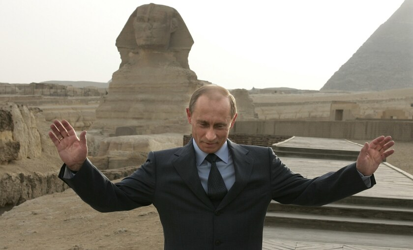 Russian President Vladimir Putin visits the pyramids outside Cairo on April 27, 2005.