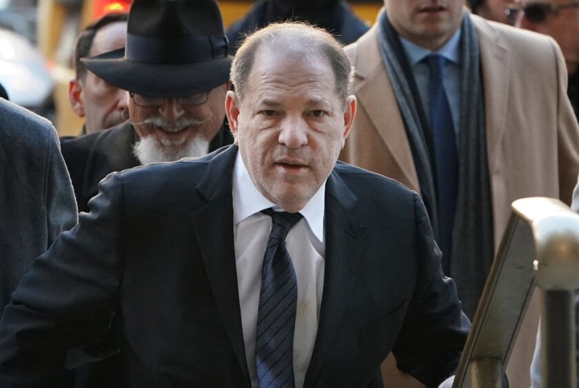 Harvey Weinstein arrives at the Manhattan Criminal Court for opening statements in his rape and sexual assault trial in New York City.