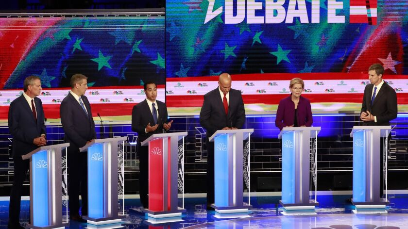 Democratic presidential candidates, left to right, Democratic presidential candidate New York City M