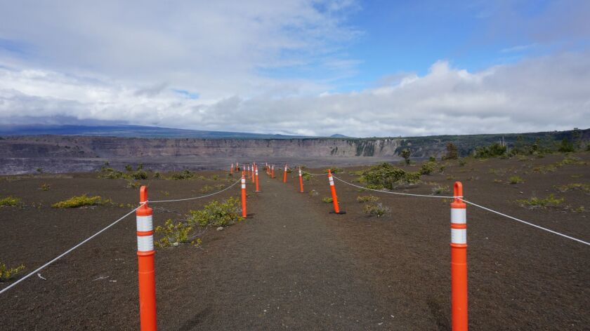 HAWAII NATIONAL PARK, HI – DECEMBER 2, 2018: A newly created overlook gives visitors a closer view