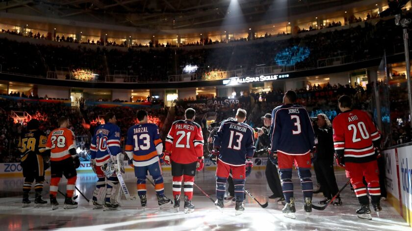 Players line up during the NHL Fastest Skater competition during the 2019 All-Star weekend at the SAP Center in San Jose.