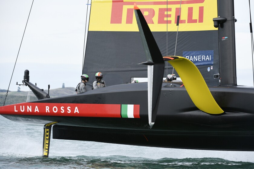 Italy's Luna Rossa after race ten of the America's Cup against Emirates Team New Zealand was abandoned on Auckland's Waitemata Harbour, Tuesday, March 16, 2021. (Chris Cameron/Photosport via AP)