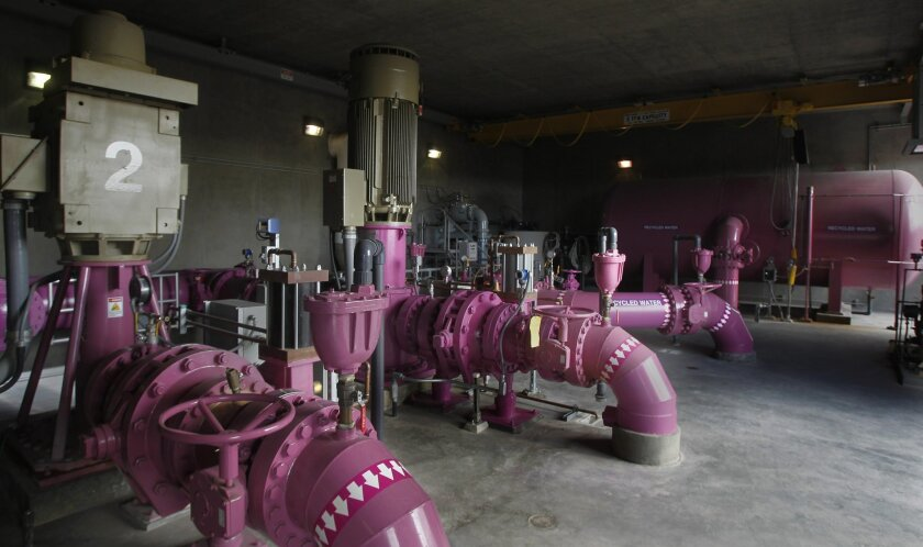 Purple pipe system for recycled water in Otay Water District.