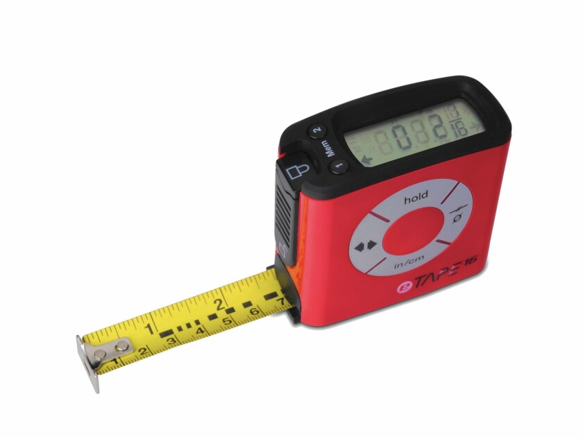 The eTape16 tape measure has a digital display at the top of its housing that shows the measurement.