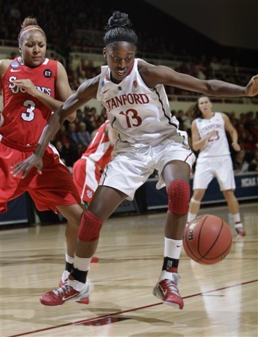 Stanford forward Chiney Ogwumike (13) loses the ball in front of St. John's forward Da'Shena Stevens (3) in the first half of a second-round NCAA women's college basketball tournament game in Stanford, Calif., Monday, March 21, 2011. (AP Photo/Paul Sakuma)