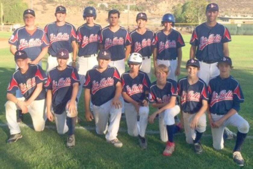 La Jolla Youth Baseball's Pony All Stars team gather during the Regionals at Lakeside. Front Row: Maxwell Hyytinen, Evan Benham, Michael Campagna, Trevor Ace, Blaise Gimber, Bobby Murphy and Lachlan MacDonald. Back Row: Coach Scott Montana, Manager Jake Grosz, Alex Monell, Cary Percket, Marco Molin