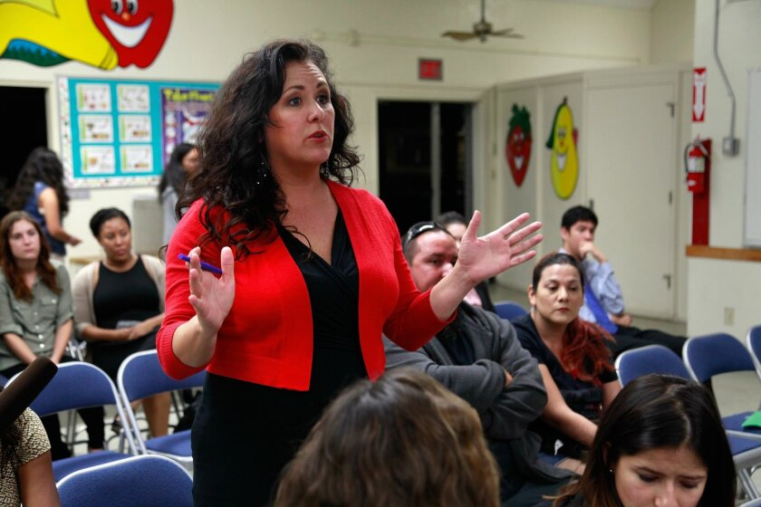 Assemblywoman Lorena Gonzalez addresses community members during a meeting about whether or not to change the name of Robert E. Lee Elementary School Friday, Oct. 23.