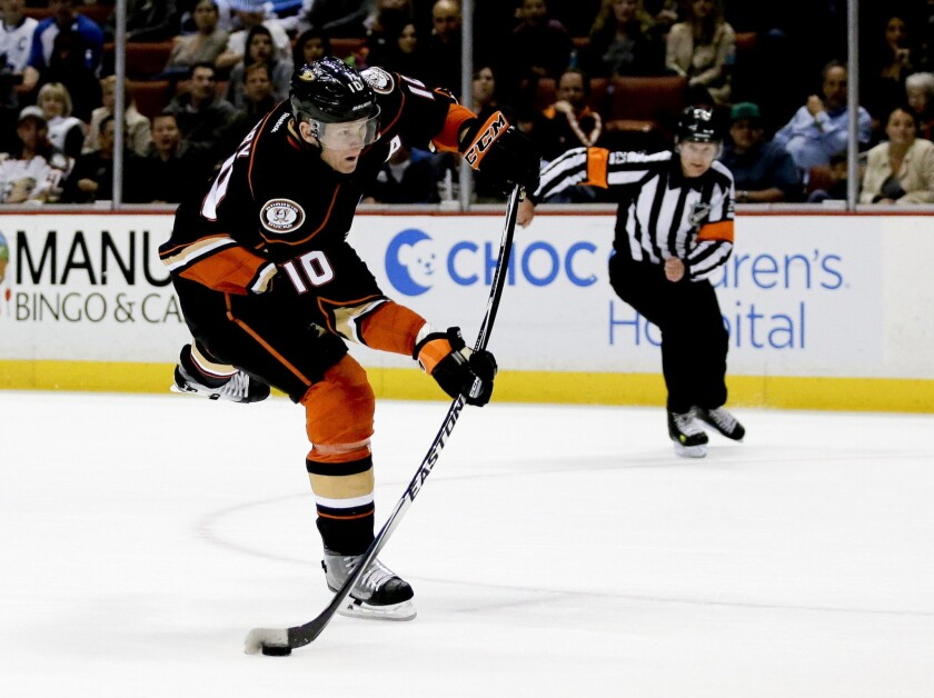 Ducks right wing Corey Perry puts a shot on goal against the Toronto Maple Leafs during a game on Jan. 14.