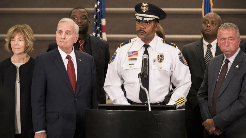 Minnesota Lt. Gov. Tina Smith, left, Gov. Mark Dayton, St. Cloud Police Chief William Blair Anderson and St. Cloud Mayor Dave Kleis at a news conference Sept. 19, 2016.