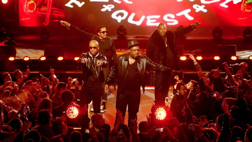 """Busta Rhymes, right, joined the group for its recent performance on """"Jimmy Kimmel Live!"""""""