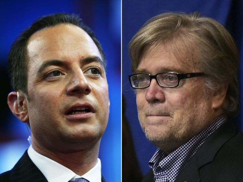 Republican National Committee Chairman Reince Priebus, left, and Donald Trump's campaign CEO, Stephen K. Bannon, are both said to be top contenders to oversee his White House staff.