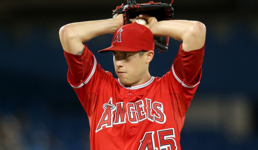 Angels pitcher Tyler Skaggs delivers a pitch in the third inning against the Toronto Blue Jays on May 10, 2014 in Toronto.