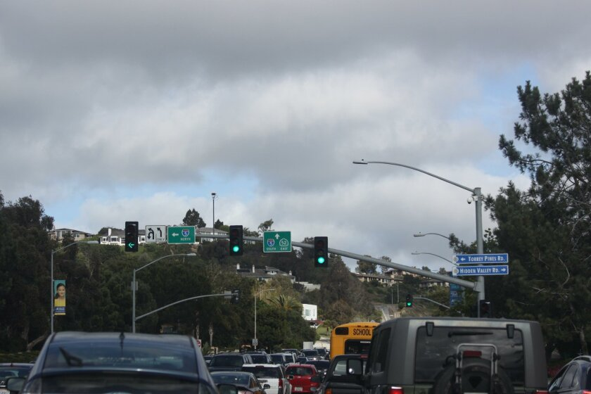Cameras to read traffic volumes and adjust signal timing accordingly have been installed at three La Jolla intersections, two on La Jolla Parkway.