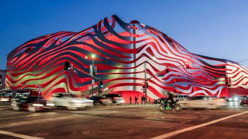 The redesigned Petersen Automotive Museum on Wilshire Boulevard on LA's Miracle Mile.
