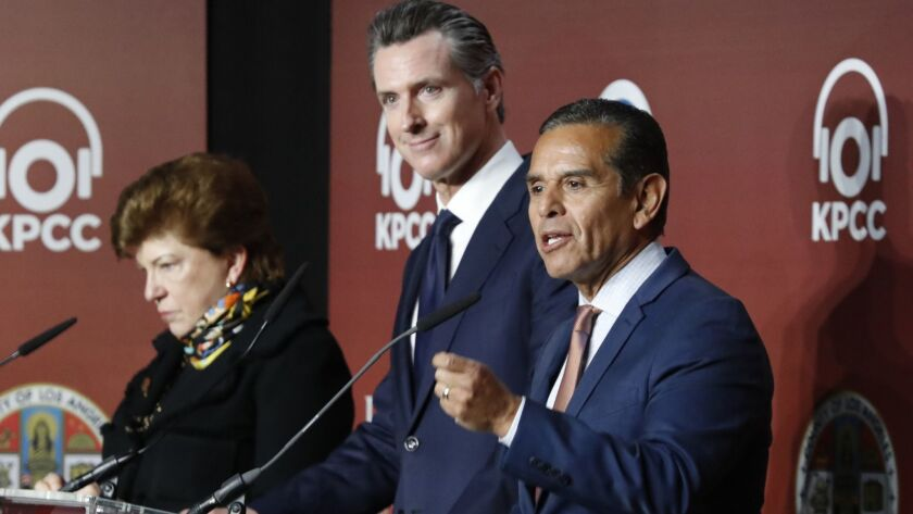 Democratic gubernatorial candidates Delaine Eastin, from left, and Gavin Newsom support establishing a single-payer healthcare system in California; Antonio Villaraigosa does not.