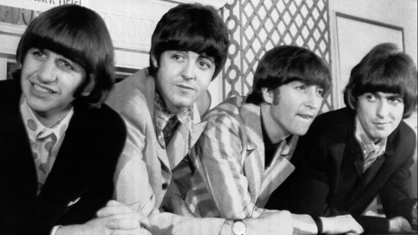 FILE - In this Aug. 23, 1966 file photo, The Beatles, from left, Ringo Starr; Paul McCartney; John L