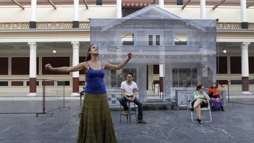 "The cast of ""Mojada: A Medea in Los Angeles"" rehearses at the Getty Villa in 2015."