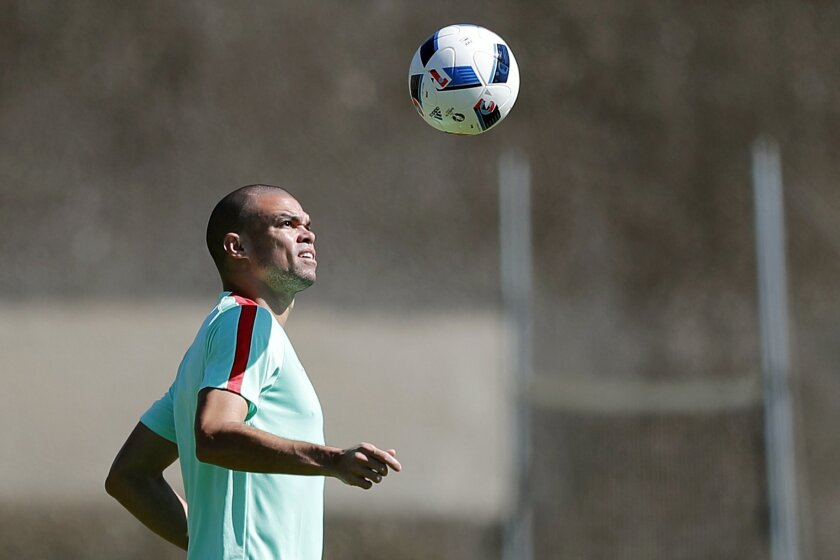 Portugal's Pepe attends a training session, on the eve of the Euro 2016 final soccer match between France and Portugal, at Marcoussis, south of Paris, France, Saturday, July 9, 2016. (AP Photo/Francois Mori)