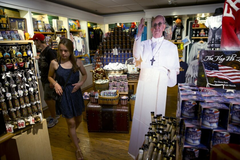 A cutout of Pope Francis is one of hundreds of papal souvenirs being offered in Philadelphia, weeks ahead his scheduled visit.