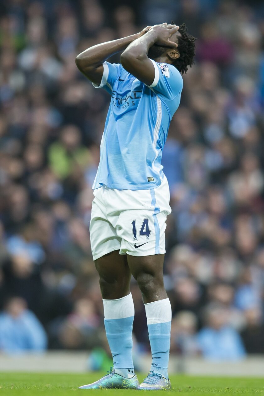 Manchester City's Wilfried Bony reacts after a missed opportunity during the English Premier League soccer match between Manchester City and Norwich at the Etihad Stadium, Manchester, England, Saturday Oct. 31, 2015. (AP Photo/Jon Super)