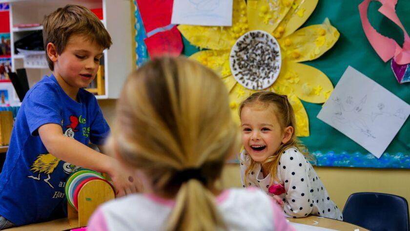 Preschool students interact in Redondo Beach in 2015.