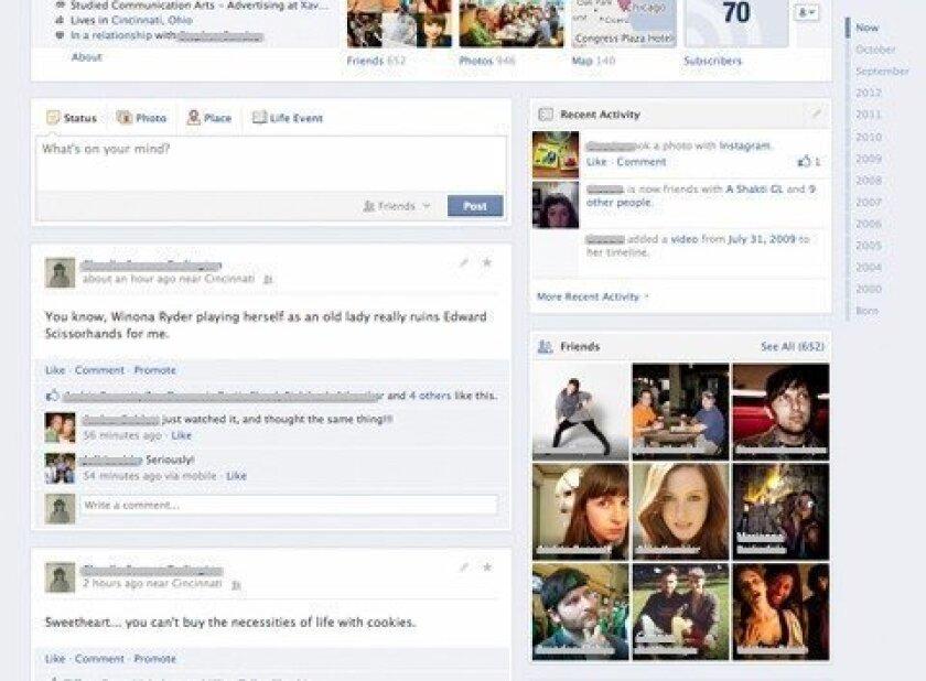 Facebook testing Timeline redesign