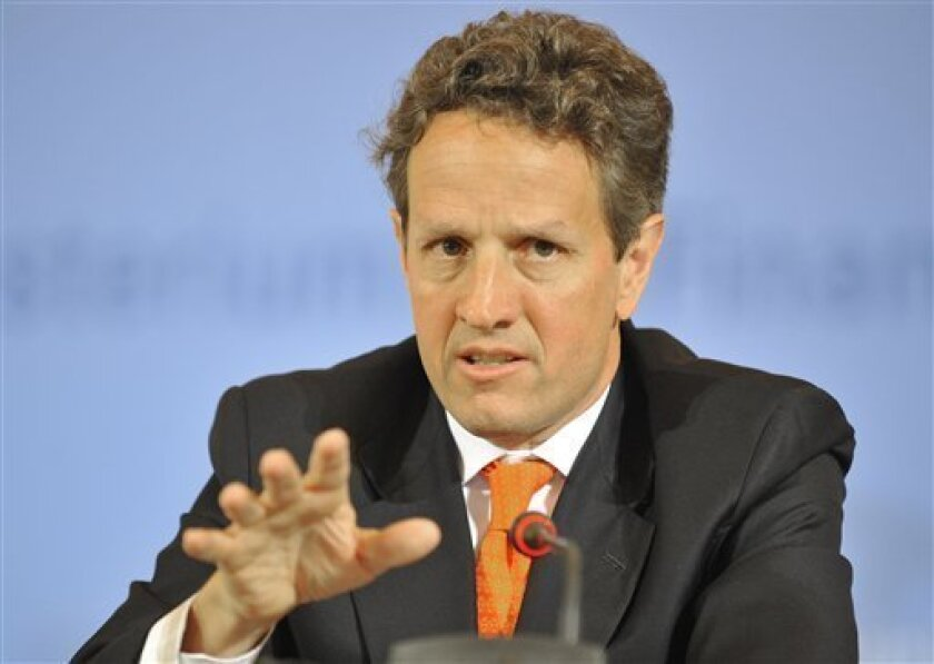 United States Secretary of the Treasury, Timothy Geithner, answers questions at a press conference in Berlin on Thursday May 27, 2010. Geithner met German Finance Minister Wolfgang Schaeuble during a two-day visit to Europe that also took him to Britain and to the European Central Bank in Frankfurt. The U.S. and Europe broadly agree on the need for reform of the financial system, but global cooperation is needed, Treasury Secretary Timothy Geithner said Thursday. He also said countries are working together to balance cutting back deficits with supporting economic growth. (AP Photo/dapd/Lennart Preiss)