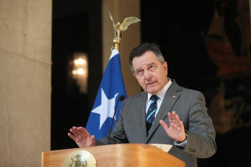 Chilean Foreign Minister Roberto Ampuero tells a press conference on Feb. 15, 2019, that his country filed a countersuit with the International Court of Justice against Bolivia's claim to sovereign maritime access to the Pacific Ocean by waters of the Silala River. EFE-EPA/Alberto Valdes