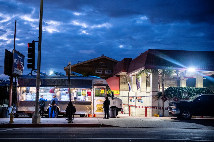 The nightly crowds have thinned at Tacos El Pecas.