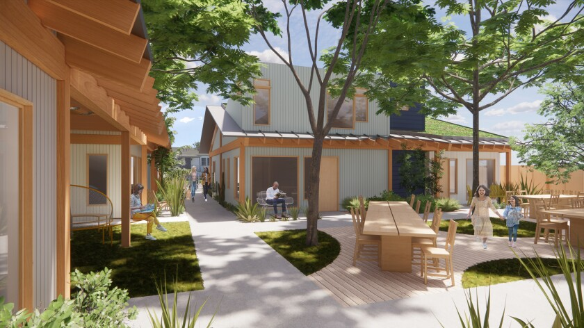 A rendering shows wood-trimmed bungalows surrounding a shared courtyard picnic area covered in trees
