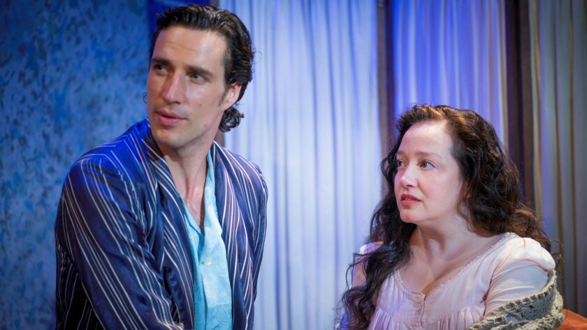 """John (Andrew Dits) and Alma (Ginna Carter) in """"The Eccentricities of a Nightingale"""" at Pacific Resident Theatre."""