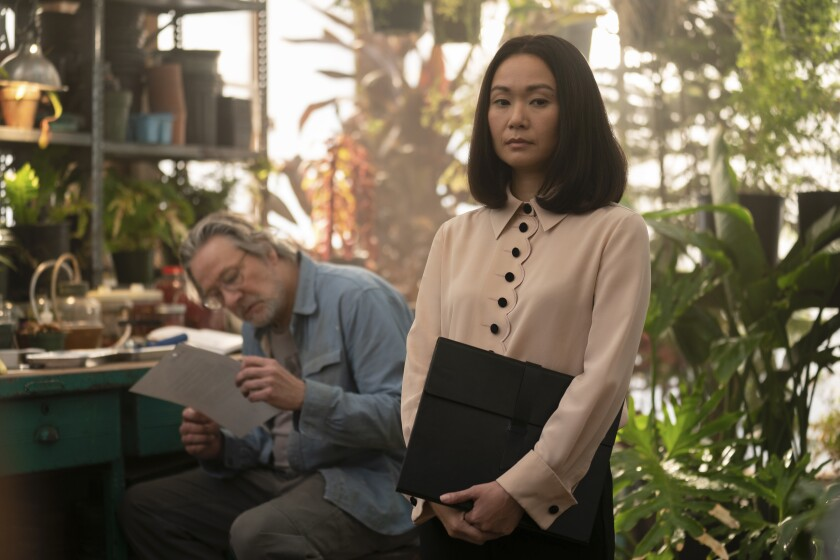 """Hong Chau with Chris Cooper in Season 2 of """"Homecoming."""""""