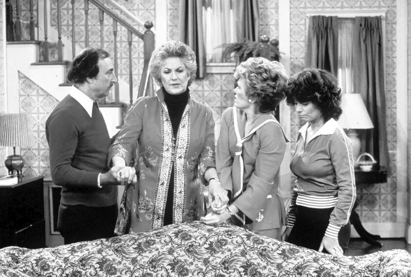 """Bill Macy, left, Bea Arthur, Rue McClanahan and Adrienne Barbeau in TV's """"Maude."""""""