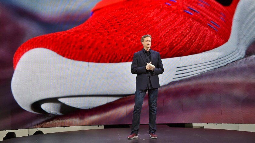 CEO Mark Parker, shown in 2016, is leaving as Nike's CEO.