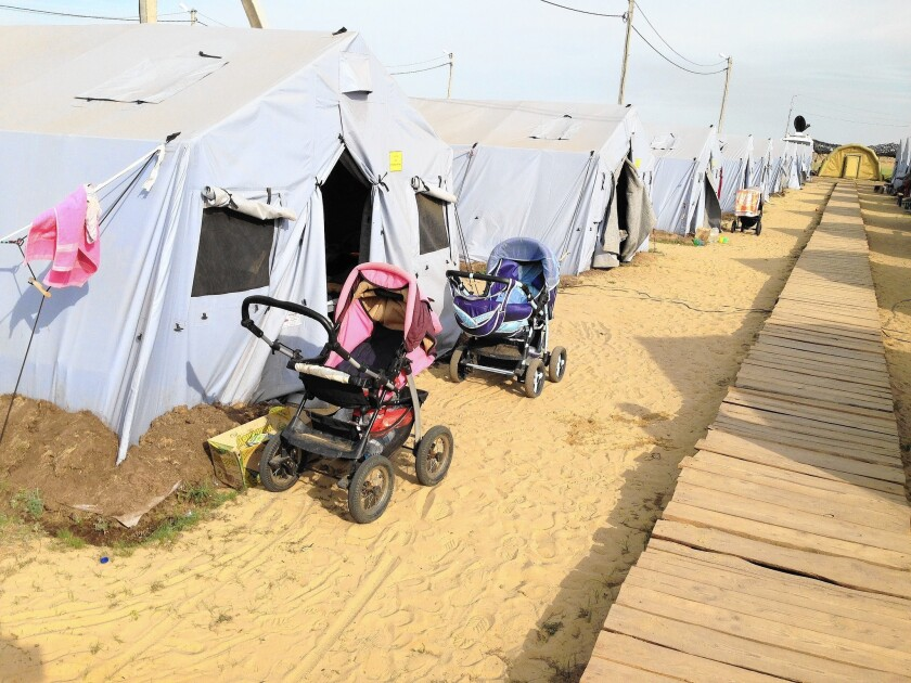 A refugee camp near the Russian border town of Donetsk. Tens of thosuands of Ukrainians have taken refuge in Russia since fighting intensified in their country's eastern region.
