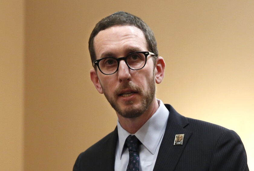 FILE - In this Jan. 21, 2020, file photo, state Sen. Scott Wiener, D-San Francisco, speaks at a news conference in Sacramento, Calif. On Wednesday, July 15, 2020, Sen. Wiener announced a bill that would make more people eligible for jury duty. Wiener said the bill will make juries more diverse. (AP Photo/Rich Pedroncelli, File)