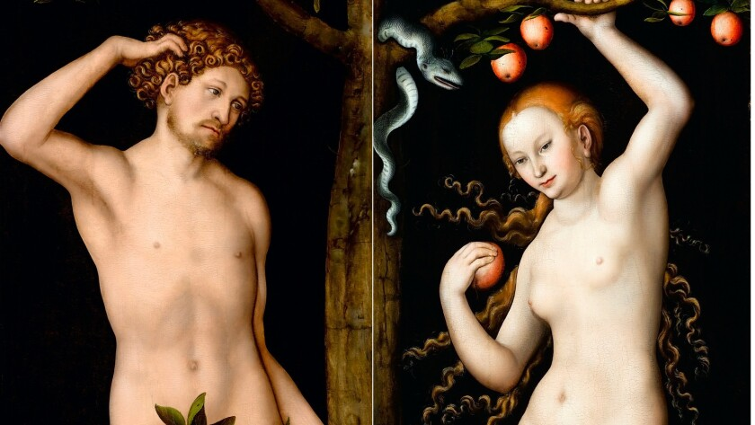 "Detail from Lucas Cranach the Elder's 1530 paintings ""Adam"" and ""Eve."" The Norton Simon Museum has turned to the Supreme Court in its long legal battle to keep the paintings, which were looted by the Nazis 31 years before the museum acquired them."
