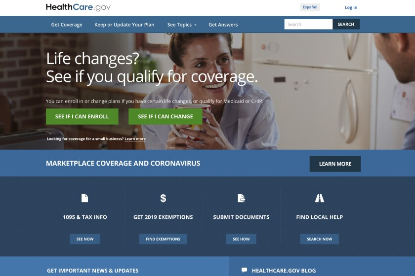 FILE - This file image provided by U.S. Centers for Medicare & Medicaid Service shows the website for HealthCare.gov. Close to half a million people who lost their health insurance amid the economic shutdown to slow the spread of COVID-19 have gotten coverage through HealthCare.gov, the government reported Thursday, June 25, 2020. (U.S. Centers for Medicare & Medicaid Service via AP, File)