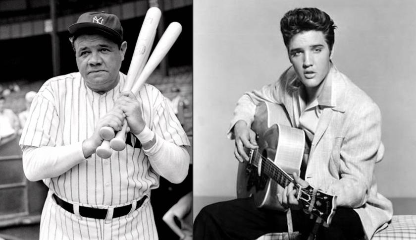 El beisbolista Babe Ruth (i) y el cantante Elvis Presley, figuras inolvidables.